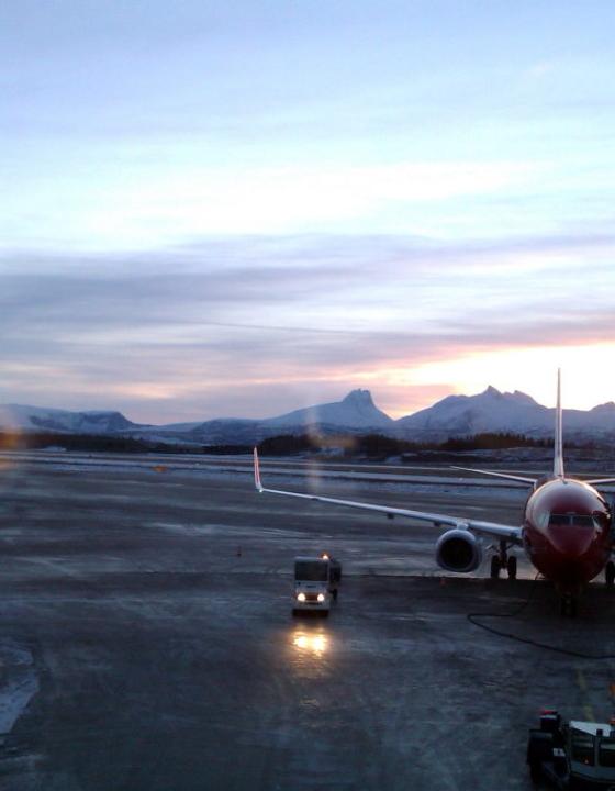 Winter flight from Bodø to Oslo