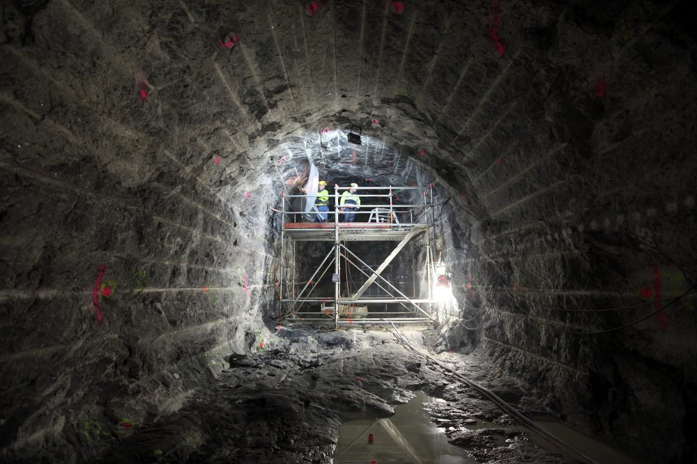 Tunnel work in Onkalo spent nuclear fuel repository.
