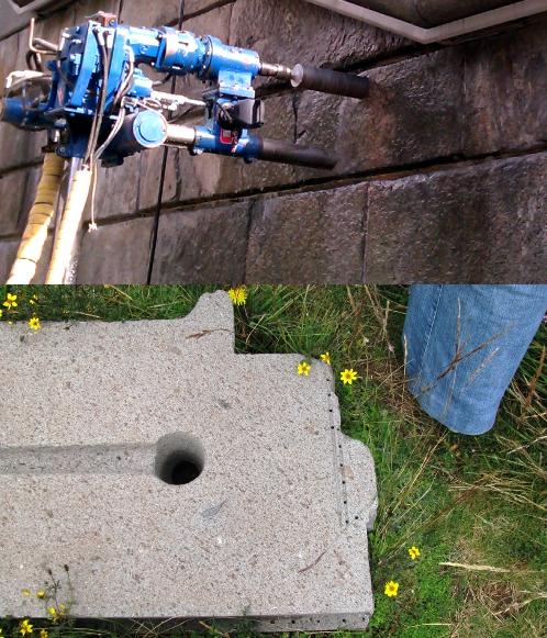Modern drill compared to Puma Punku drill hole.