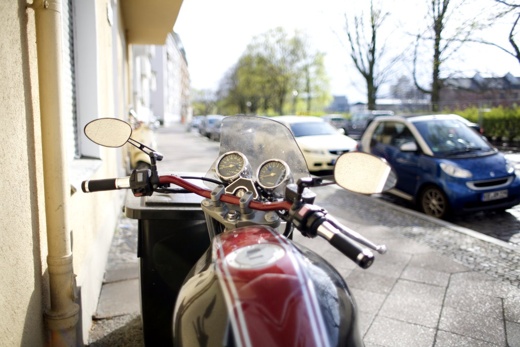 Motor bike in Berlin street. Photo: Sanjin Đumišić.