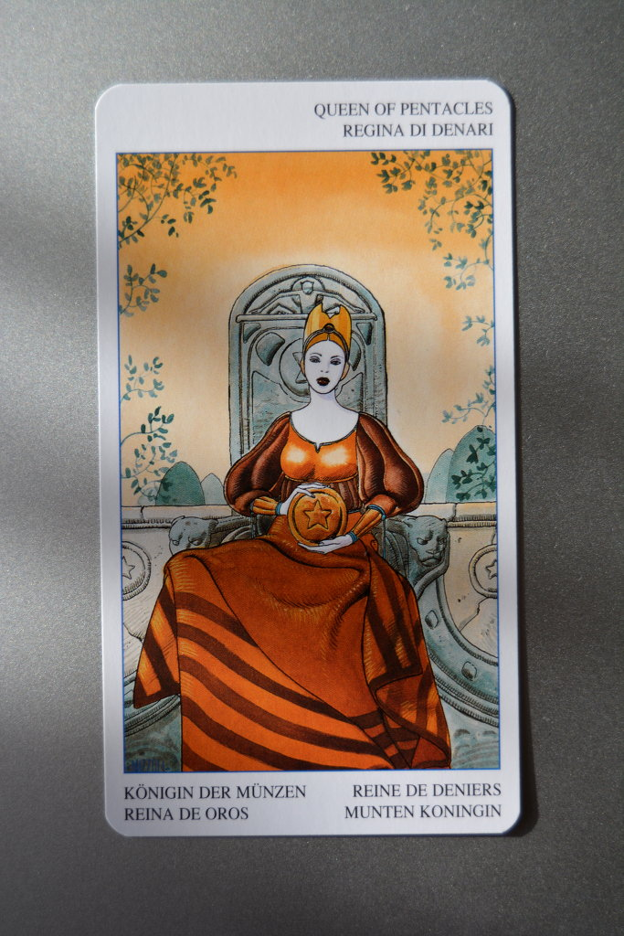 Tarot Card - Queen of Pentacles. Secret Tarot deck.