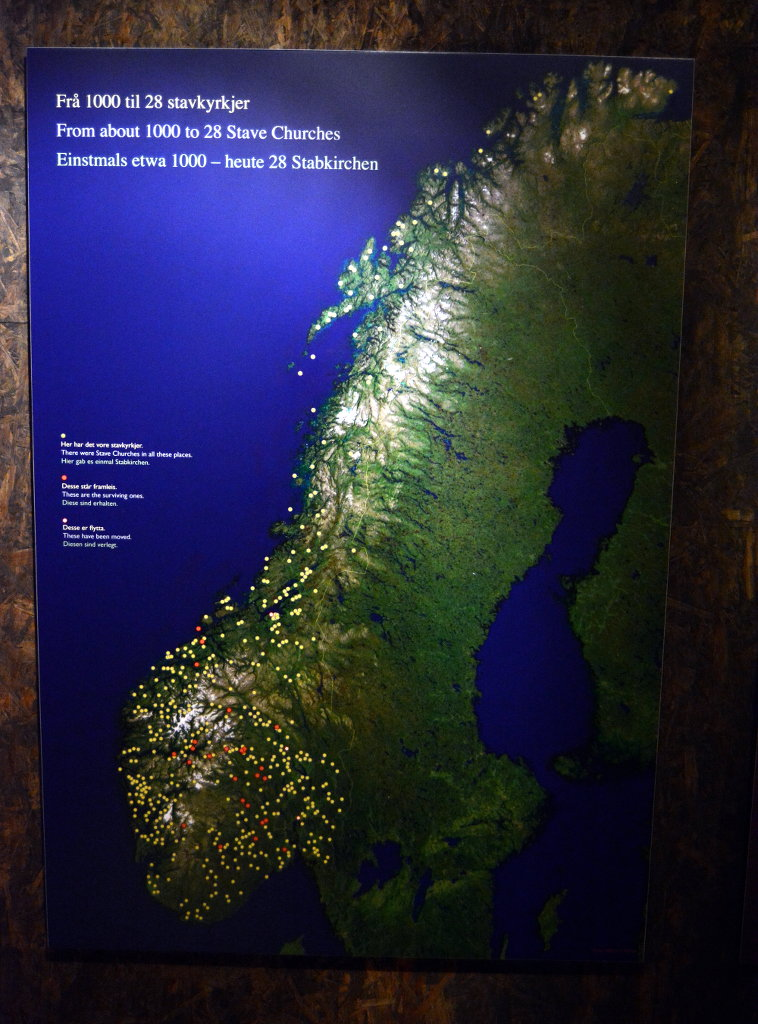 Map of where all the stave churches once were located.