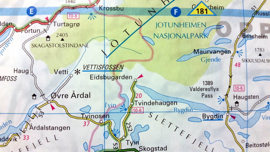 Tindevegen roadtrip map.