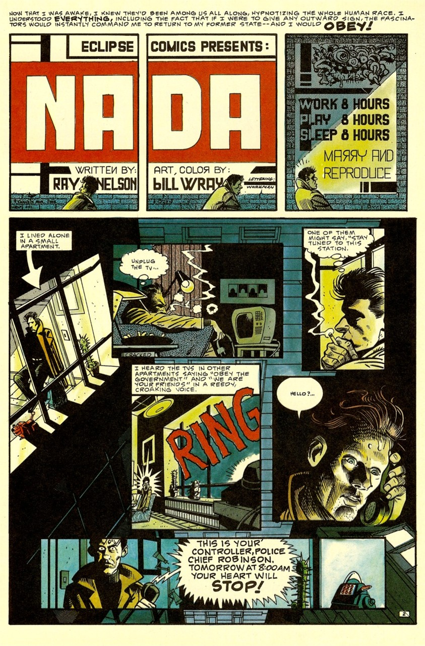 'Nada' comic Ray Nelson and Bill Wray page 1.