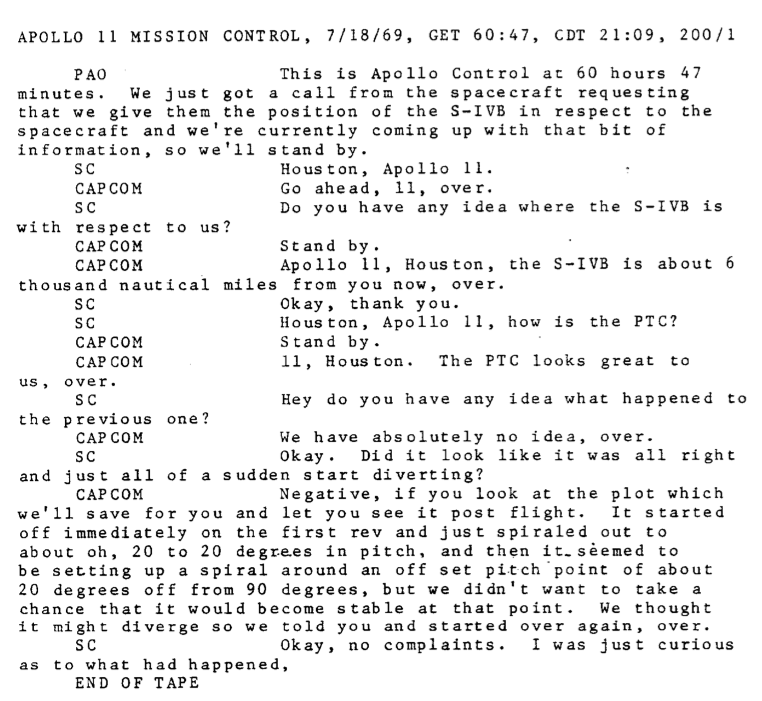 Apollo 11 transcript - UFO incident about S-IVB.