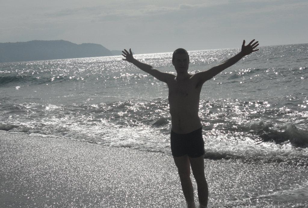 Sanjin enjoys the beach. Photo: Lisa Sinclair.
