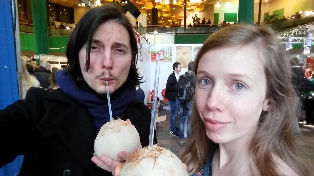 Enjoying fresh coconut water. Photo: Sanjin Đumišić.