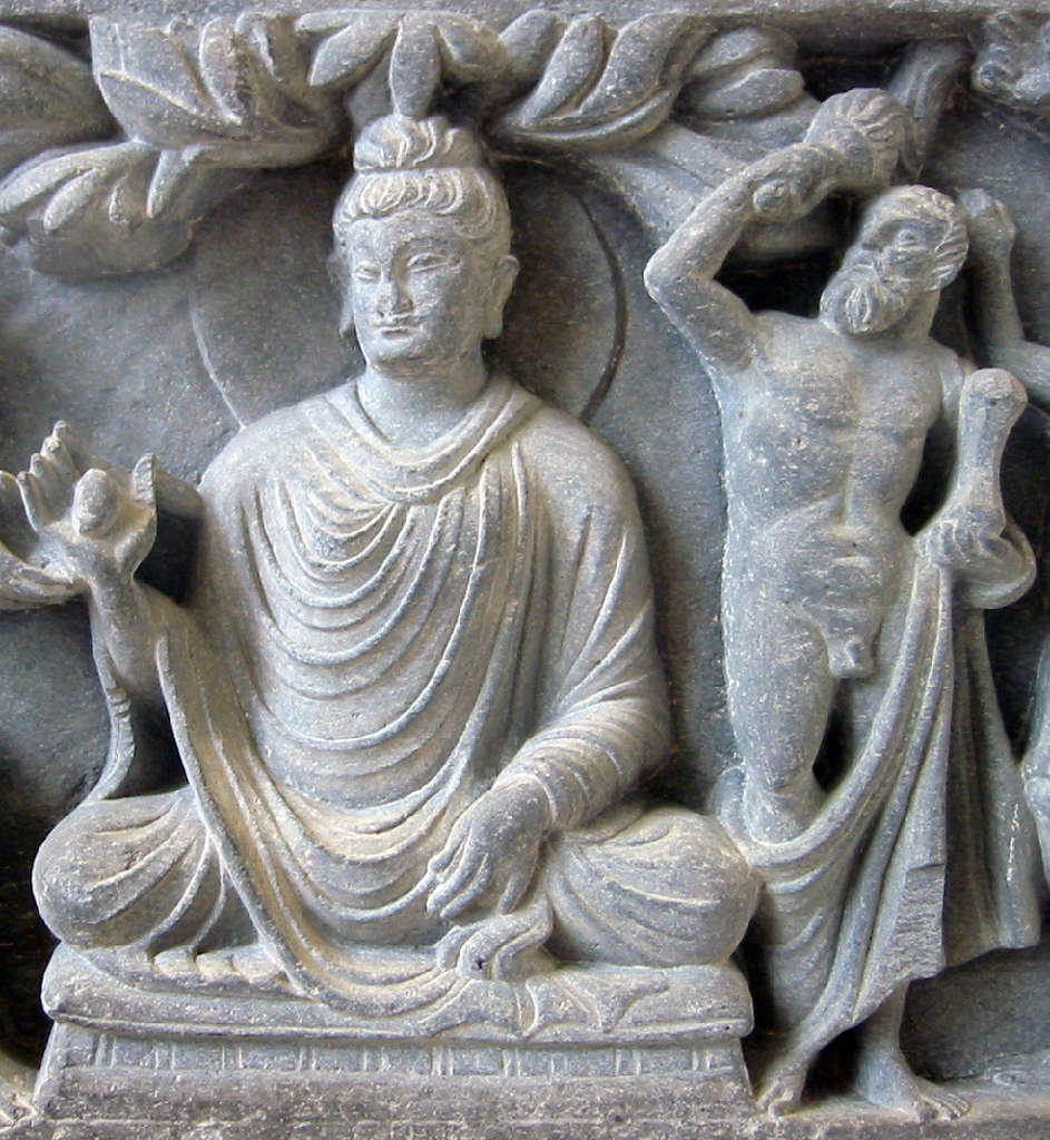 Herculean depiction of Vajrapani (right), as the protector of the Buddha, 2nd century CE Gandhara, British Museum.