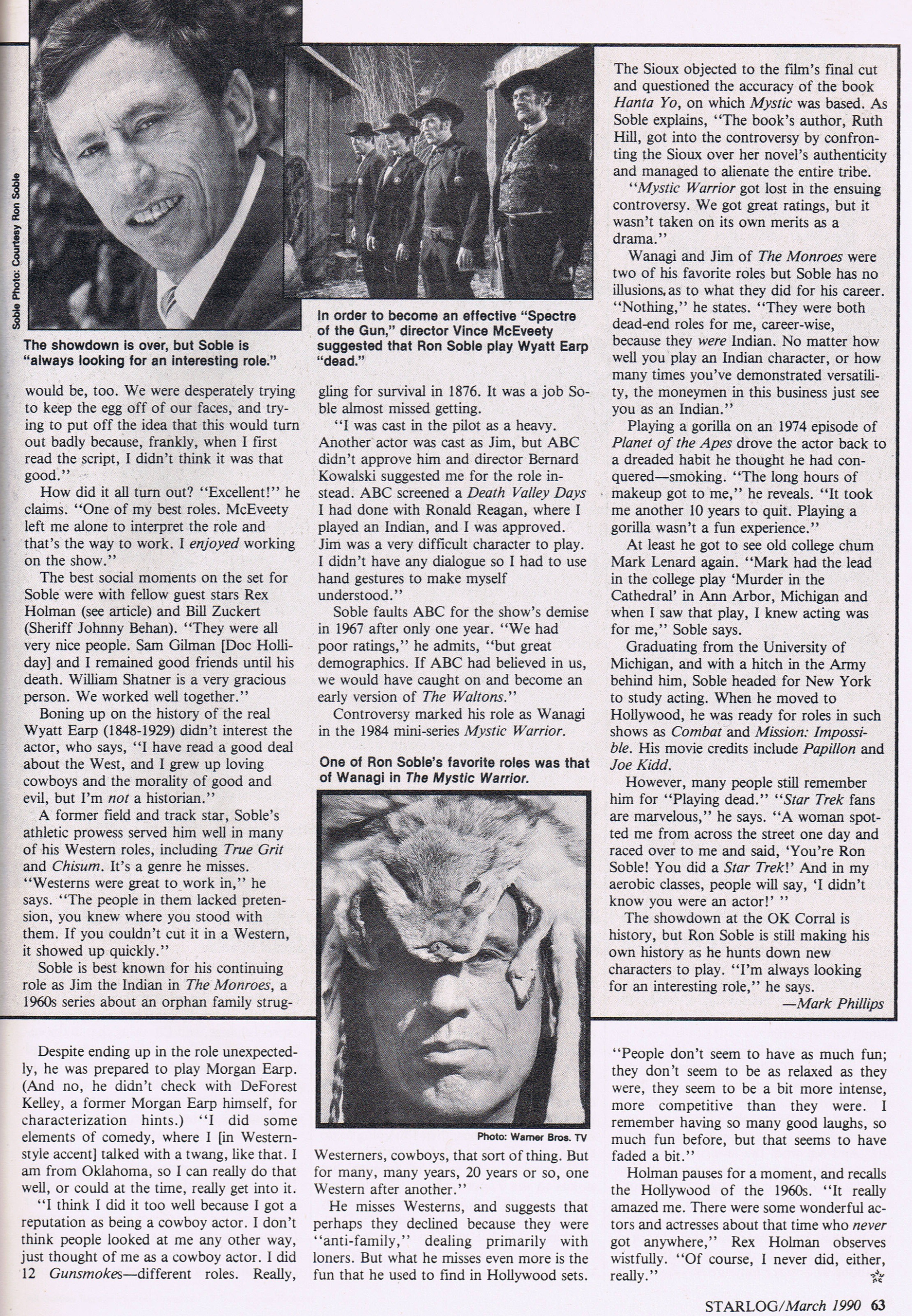 Rex Holman interview Starlog Magazine issue 152 from 1990.