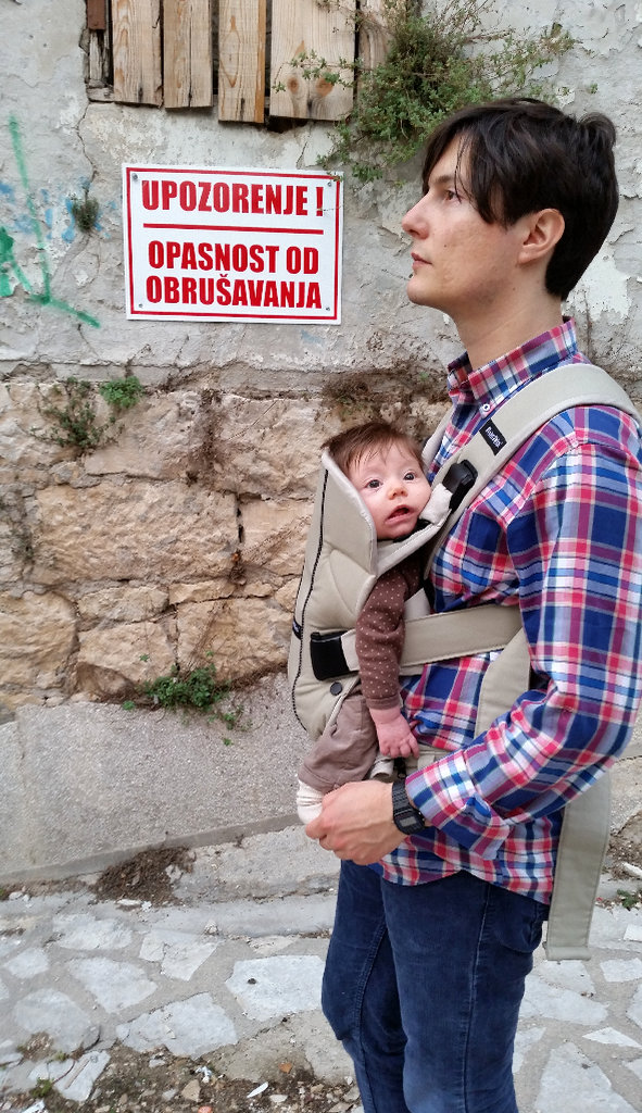 Florens and Sanjin in Mostar streets. Photo: Lisa Sinclair.