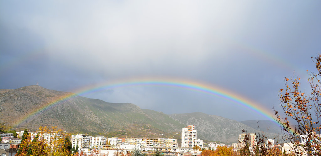Bosnian rainbow over Mostar. Photo: Sanjin Đumišić.
