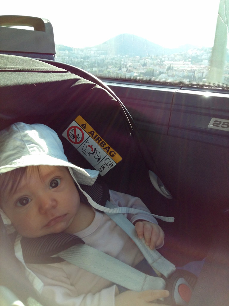 Florens in the baby car seat enroute Dubrovnik. Photo: Lisa Sinclair.