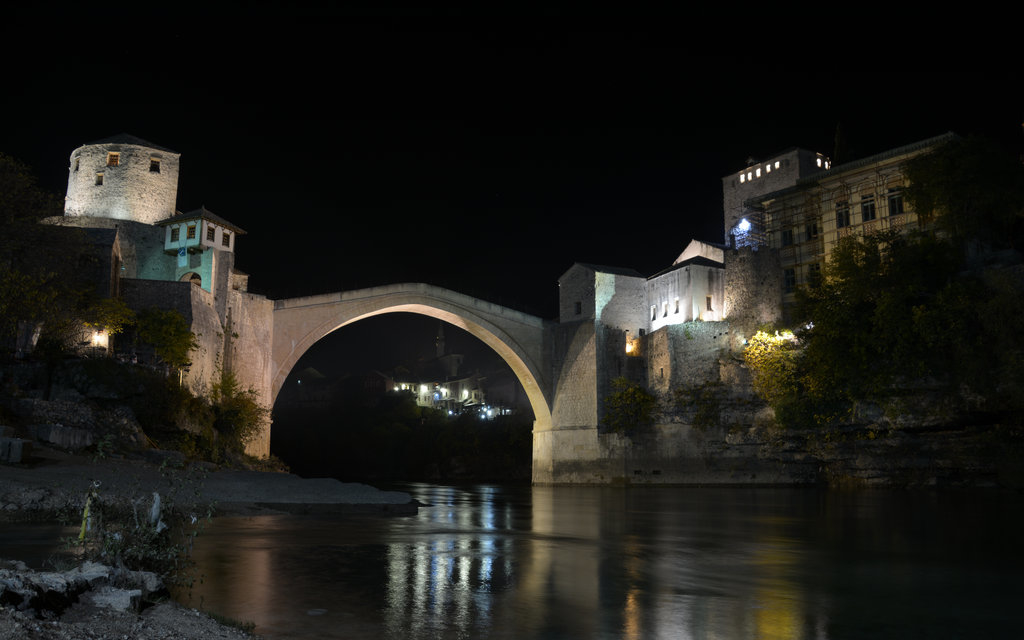 Old bridge in Mostar by night