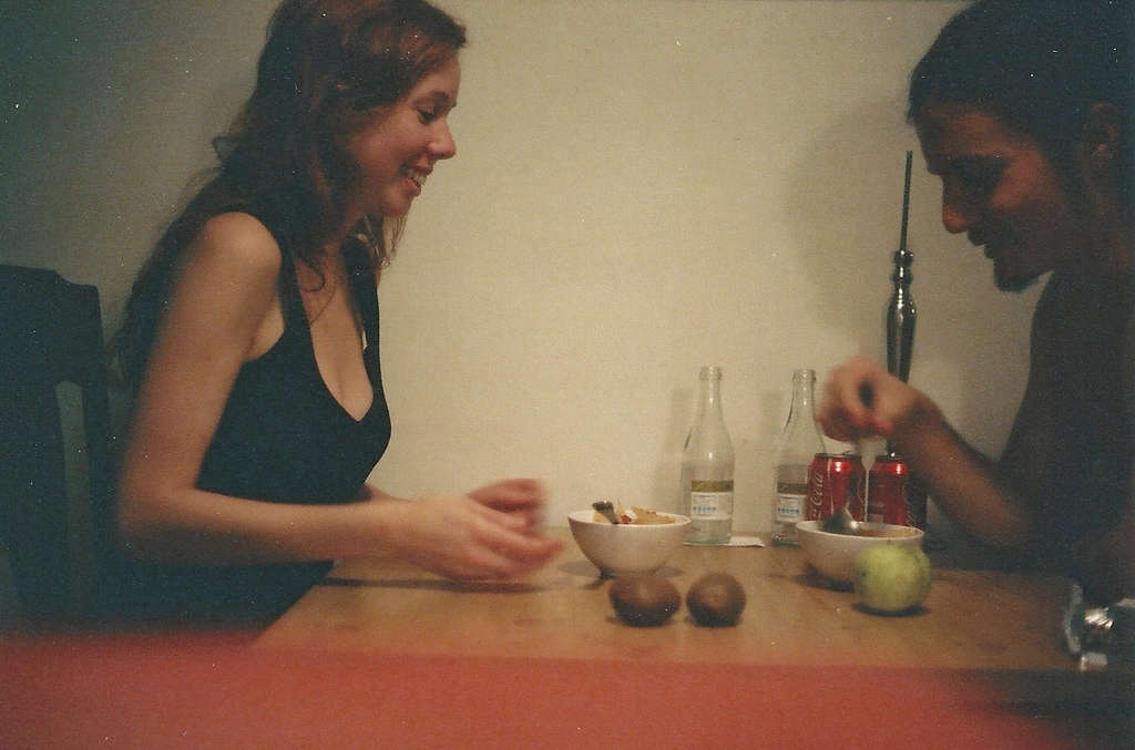 Moving in and eating a scrambled dinner. We changed the parquet that night. I love these 35mm photos.