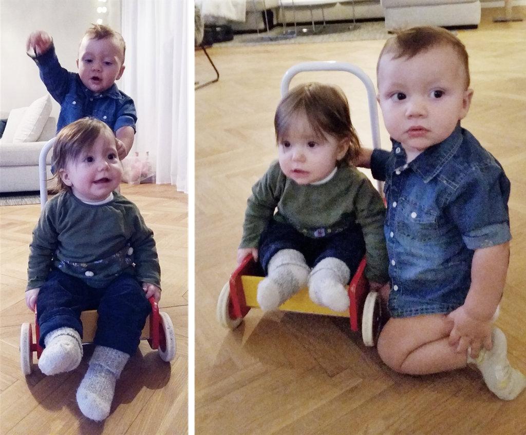 Babies driving cart, Vincent and Florens. Photo: Sanjin Đumišić.