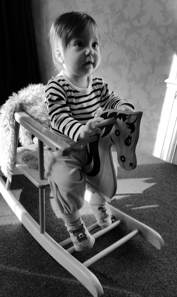 Baby Florens on a wooden horse. Photo: Sanjin Đumišić.