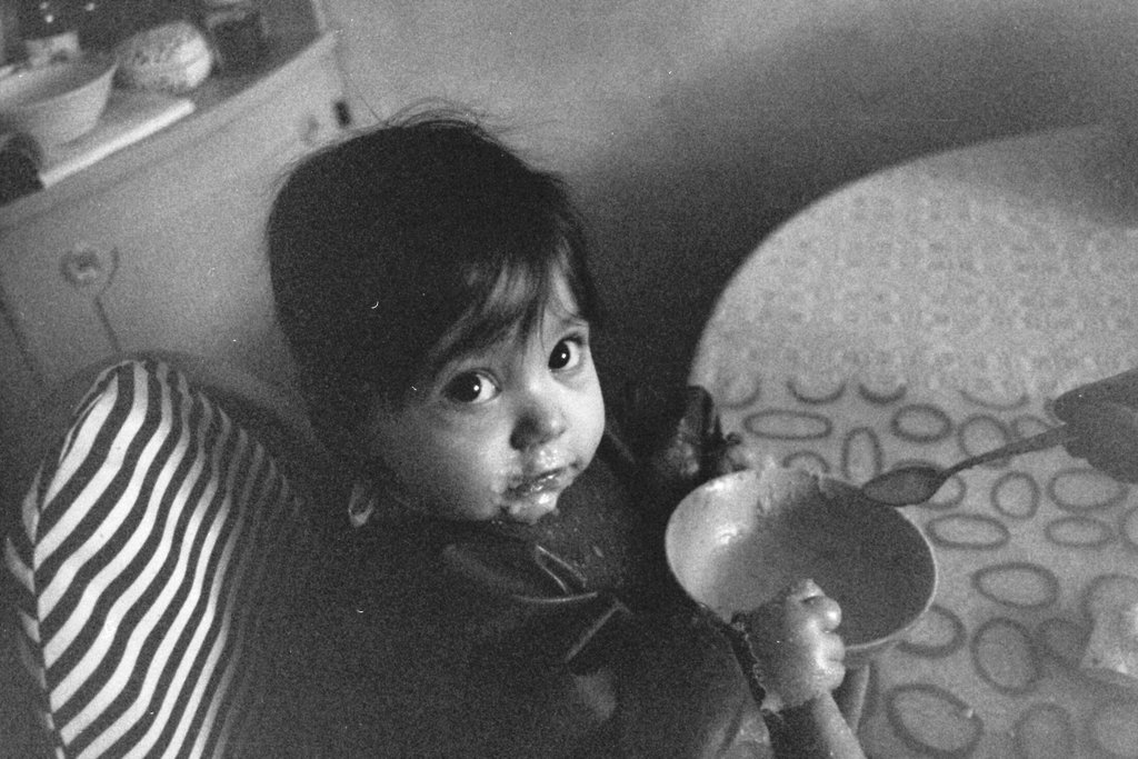 Baby Florens eating. Photo: Photo: Sanjin Đumišić.