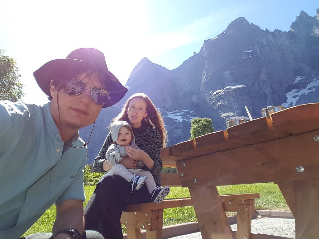 Sanjin, Lisa, baby Florens. Norway road trip, Trollveggen.