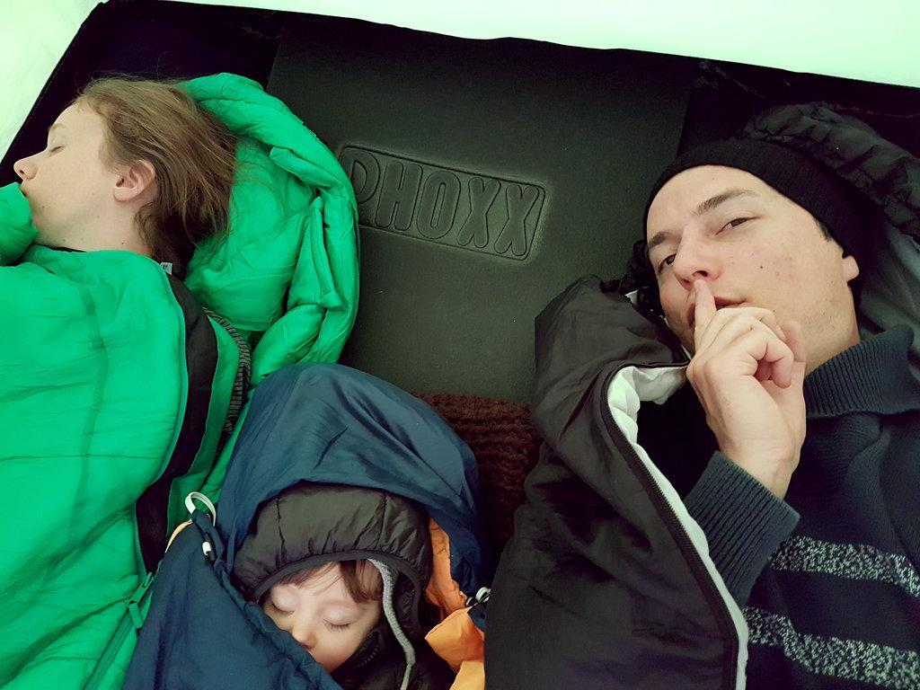 Sleeping baby in tent. Norway road trip. Photo: Sanjin Đumišić.