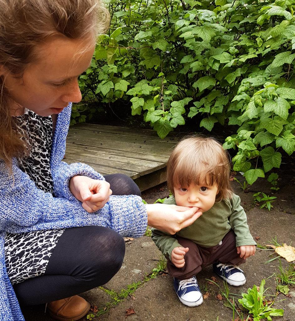 Lisa, baby Florens, eating blackcurrants. Photo: Sanjin Đumišić.