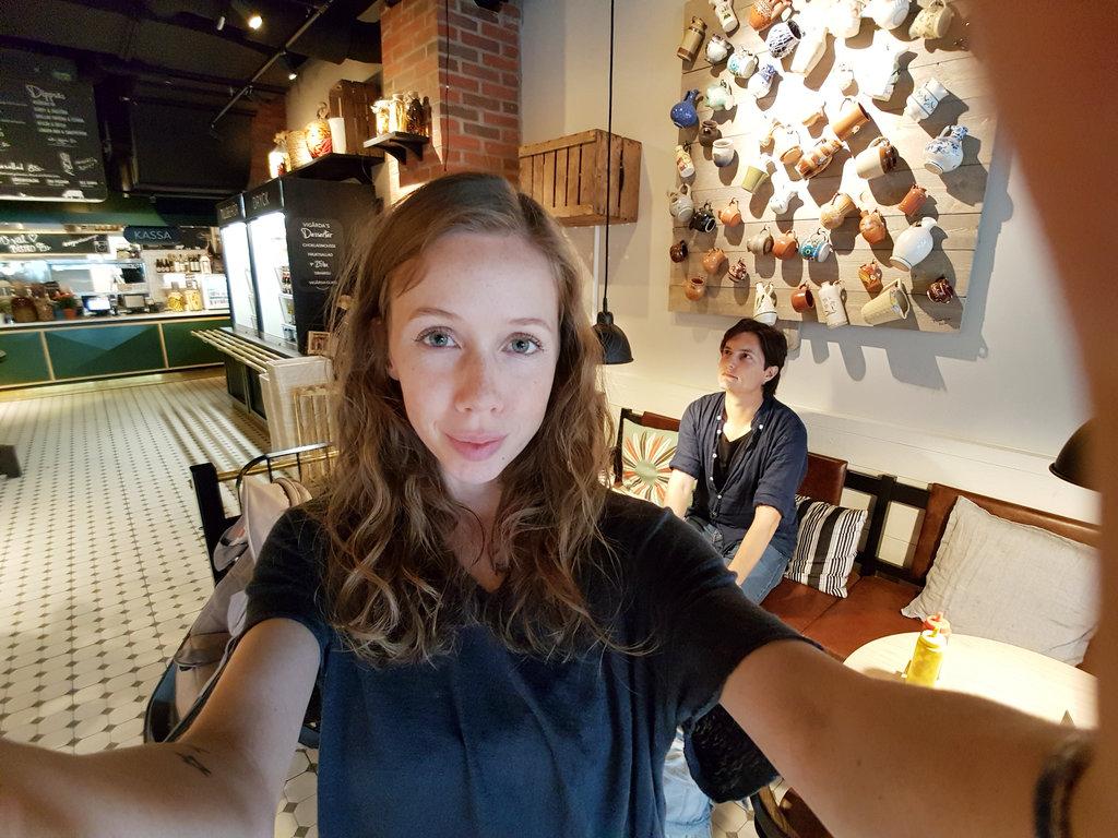 Lisa and Sanjin, wide lens selfie.