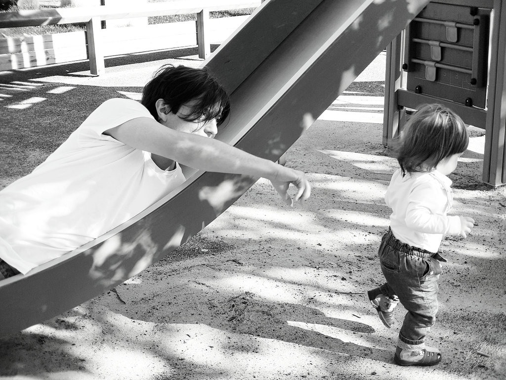Sanjin and Florens at the playground. Photo: Lisa Sinclair.