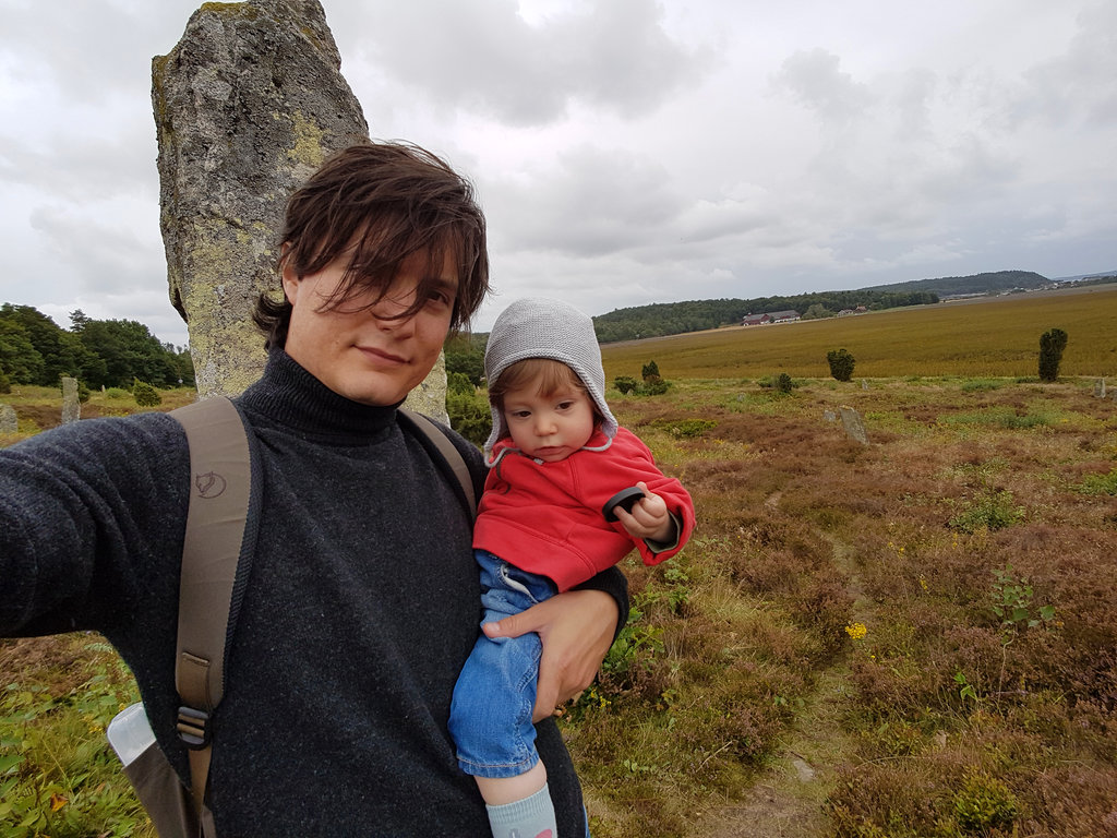 Sanjin with Florens at Fjärås Bräcka, Li megaliths.