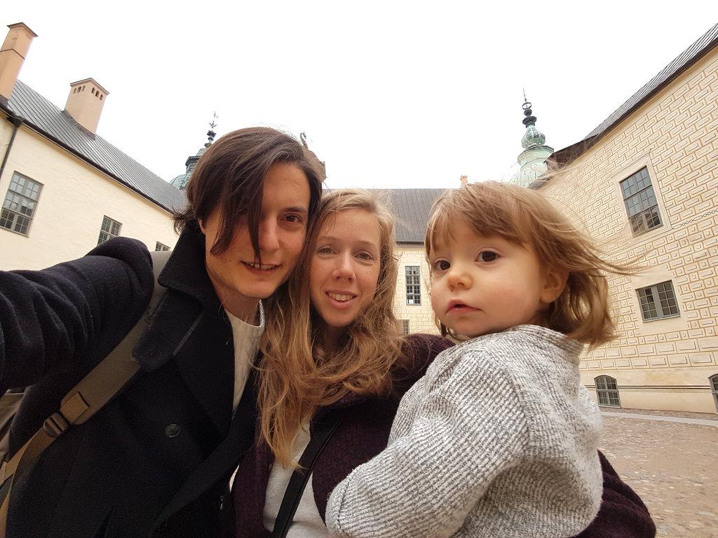 Family selfie at Kalmar Castle.