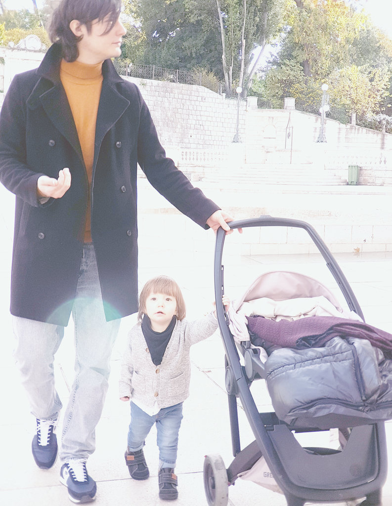 Sanjin and baby Florens in Zadar old town. Photo: Lisa Sinclair.