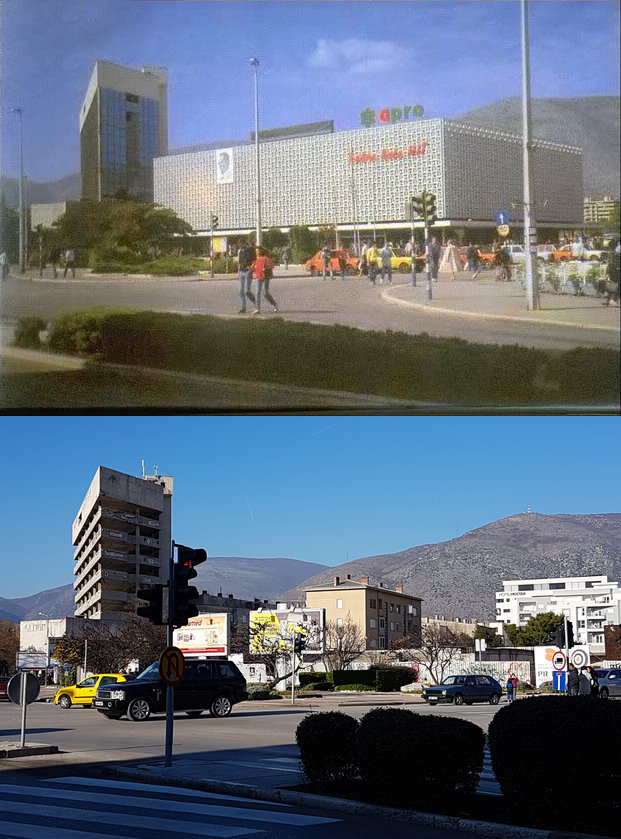 Spanish Square in Mostar, then and now. Photo: Sanjin Đumišić.