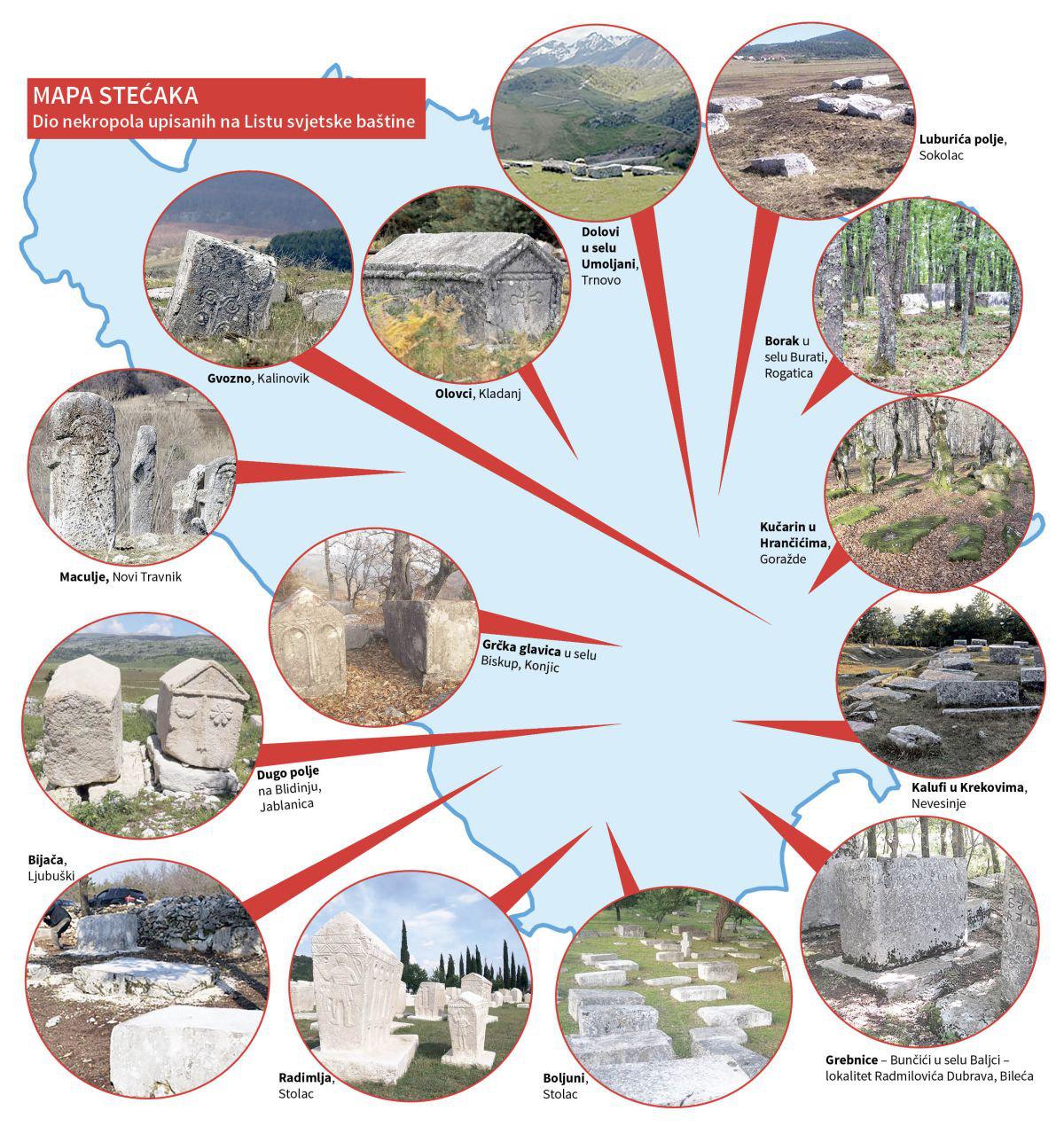 Stećci megaliths tombstones map, Bosnia & Herzegovina.
