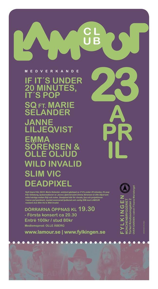 Club Lamour at Fylkingen in Stockholm 23rd of April 2013.
