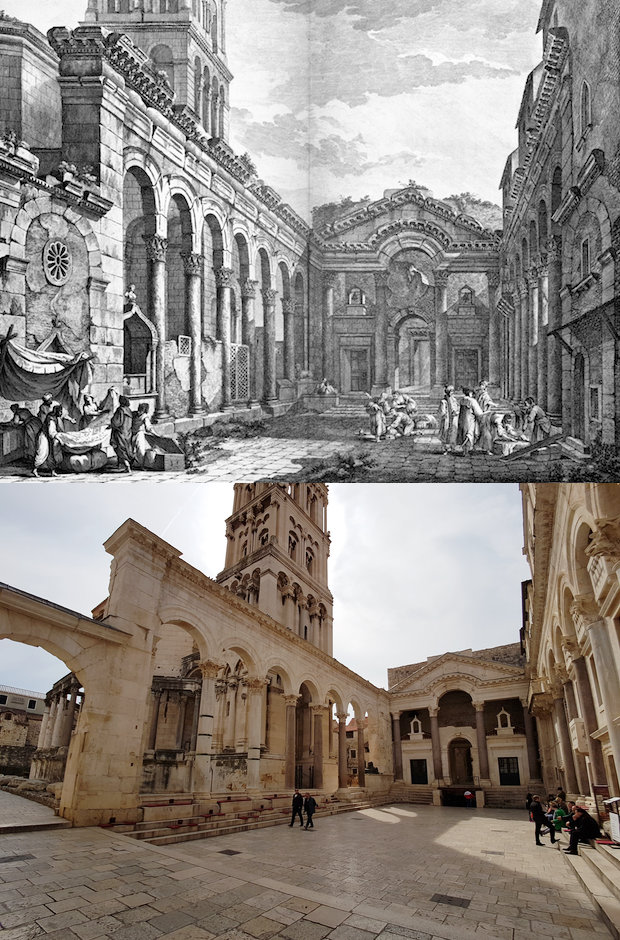 Diocletian's Palace in Split. 1764 by Robert Adam and 2017 by Sanjin Đumišić.