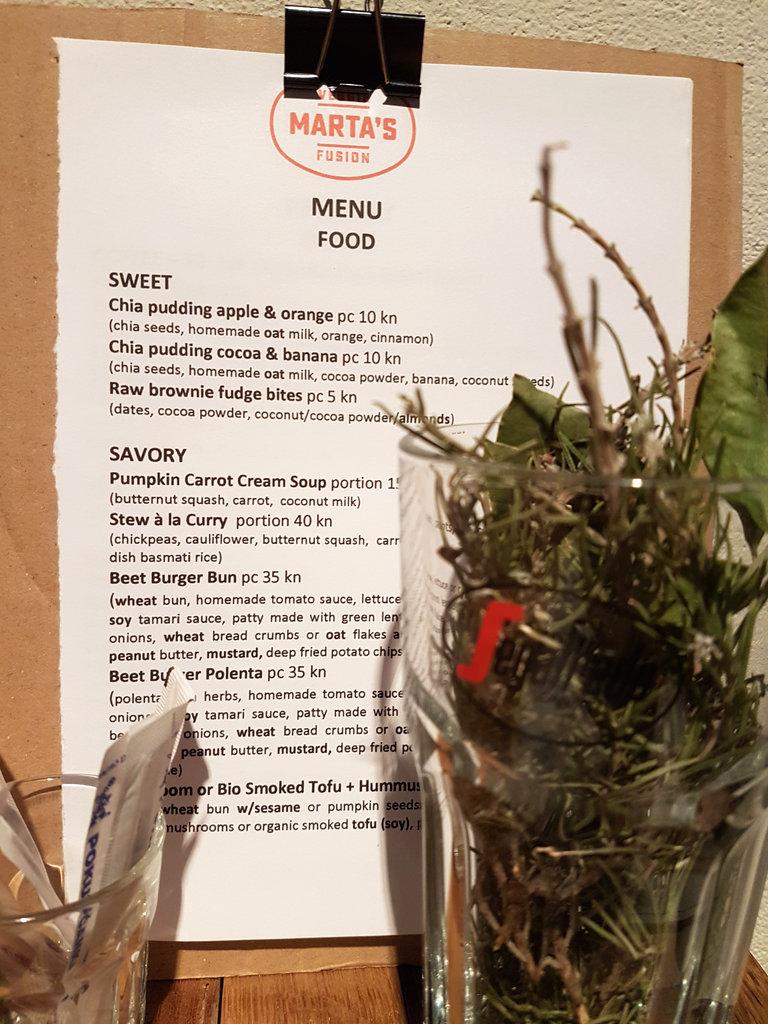 Marta's Veggie Fusion menu. Photo: Sanjin Đumišić.
