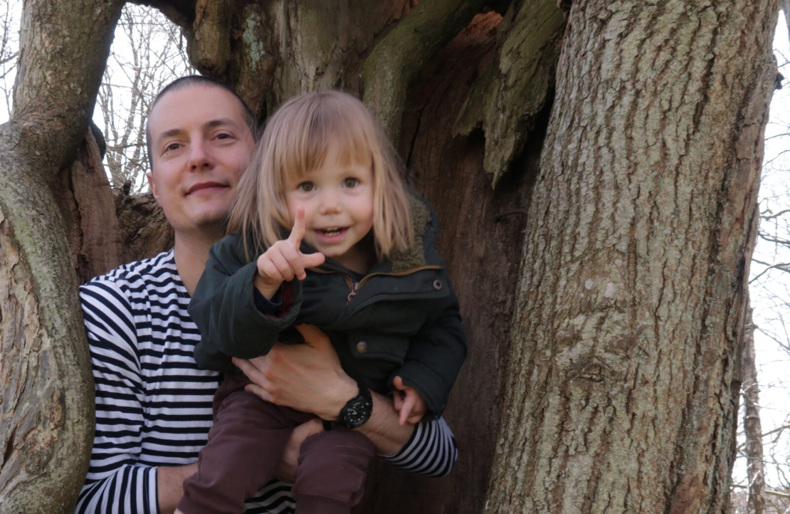 Sanjin and Aurelia inside a tree. Photo: Victoria Sinclair.